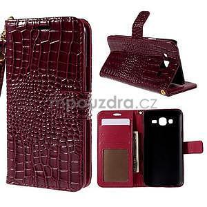 PU kožené pouzdro s imitací krokodýlí kůže Samsung Galaxy J5 - tmavě červené - 1