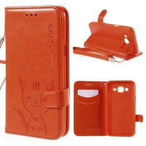 Peněženkové pouzdro s kočičkou Domi na Samsung Galaxy J5 - oranžové - 1