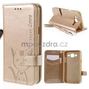Peněženkové pouzdro s kočičkou Domi na Samsung Galaxy J5 - champagne - 1