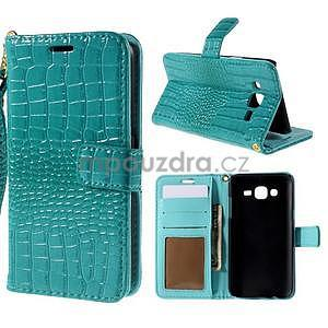 PU kožené pouzdro s imitací krokodýlí kůže Samsung Galaxy J5 - tyrkysové - 1