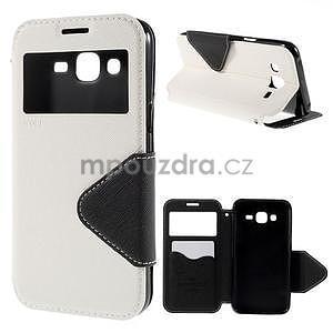 PU kožené pouzdro s okýnkem pro Samsung Galaxy J5 - bílé - 1