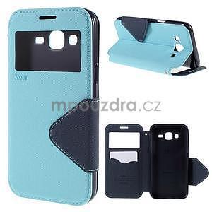 PU kožené pouzdro s okýnkem pro Samsung Galaxy J5 - světle modré - 1