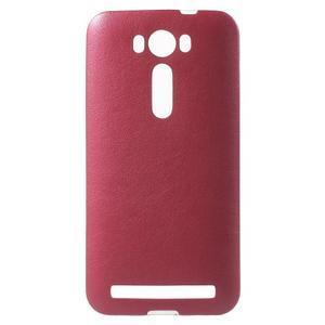 Gelový obal s jemným koženkovým plátem na Asus Zenfone 2 Laser ZE500KL  - rose - 1