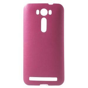 Gelový obal s jemným koženkovým plátem na Asus Zenfone 2 Laser ZE500KL  - růžový - 1