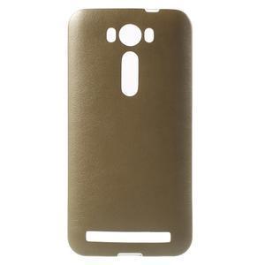 Gelový obal s jemným koženkovým plátem na Asus Zenfone 2 Laser ZE500KL  - champagne - 1
