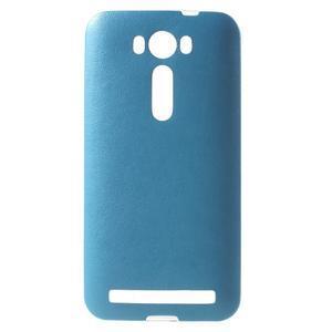 Gelový obal s jemným koženkovým plátem na Asus Zenfone 2 Laser ZE500KL  - modrý - 1