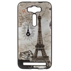 Gelový obal s koženkovými zády na Asus Zenfone 2 Laser - Eiffelova věž - 1