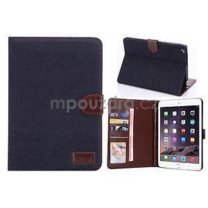 Jeans luxusní pouzdro na iPad Mini 3, iPad Mini 2 a iPad Mini - černomodré - 1