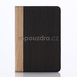 Koženkové pouzdro s imitací dřeva na iPad Mini 3, iPad Mini 2, iPad mini - tmavě šedé - 1