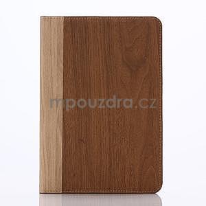 Koženkové pouzdro s imitací dřeva na iPad Mini 3, iPad Mini 2, iPad mini - hnědé - 1
