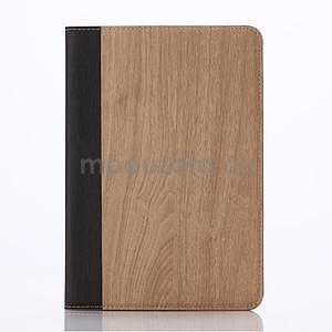 Koženkové pouzdro s imitací dřeva na iPad Mini 3, iPad Mini 2, iPad mini - světlehnědé - 1