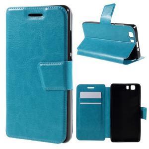 Peněženkové PU kožené pouzdro na mobil Doogee X5 - modré - 1