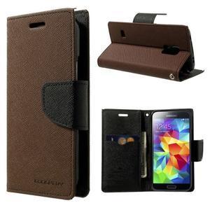 Diary PU kožené pouzdro na Samsung Galaxy S5 mini - hnědé - 1