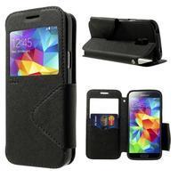 Pěněženkové pouzdro s okýnkem pro Samsung Galaxy S5 mini -  černé - 1/7