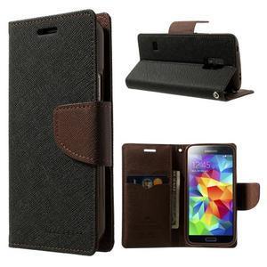 Diary PU kožené pouzdro na Samsung Galaxy S5 mini - černé/hnědé - 1