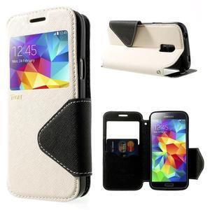 Pěněženkové pouzdro s okýnkem pro Samsung Galaxy S5 mini - bílé - 1