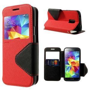 Pěněženkové pouzdro s okýnkem pro Samsung Galaxy S5 mini - červené - 1