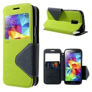 Pěněženkové pouzdro s okýnkem pro Samsung Galaxy S5 mini -  zelené - 1