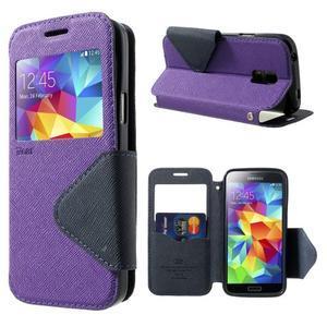 Pěněženkové pouzdro s okýnkem pro Samsung Galaxy S5 mini -  fialové - 1