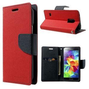 Diary PU kožené pouzdro na Samsung Galaxy S5 mini - červené - 1