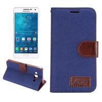 Jeans peněženkové pouzdro na Samsung Galaxy A5 - tmavěmodré - 1/6