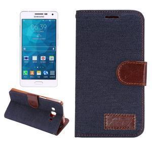 Jeans peněženkové pouzdro na Samsung Galaxy note 3 - černomodré - 1