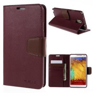 Setsnow PU kožené pouzdro na Samsung Galaxy Note 3 - vínové - 1