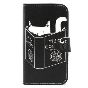 Peněženkové pouzdro na mobil Samsung Galaxy S3 - kočička s knihou - 1