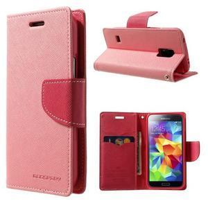Diary PU kožené pouzdro na Samsung Galaxy S5 mini - růžové - 1