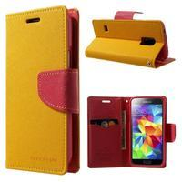 Diary PU kožené pouzdro na Samsung Galaxy S5 mini - žlutooranžové - 1/7