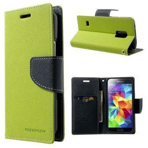 Diary PU kožené pouzdro na Samsung Galaxy S5 mini - zelené - 1