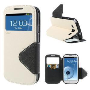 Peněženkové pouzdro s okýnkem pro Samsung Galaxy S3 / S III - bílé - 1