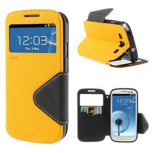 Peněženkové pouzdro s okýnkem pro Samsung Galaxy S3 / S III - žluté - 1