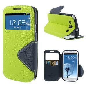 Peněženkové pouzdro s okýnkem pro Samsung Galaxy S3 / S III - zelené - 1