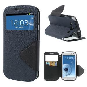 Peněženkové pouzdro s okýnkem pro Samsung Galaxy S3 / S III - tmavěmodré - 1
