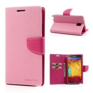 Goosp PU kožené pouzdro na Samsung Galaxy Note 3 - růžové - 1