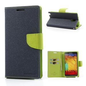 Goosp PU kožené pouzdro na Samsung Galaxy Note 3 - tmavěmodré - 1