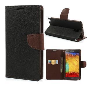 Goosp PU kožené pouzdro na Samsung Galaxy Note 3 - černé/hnědé - 1