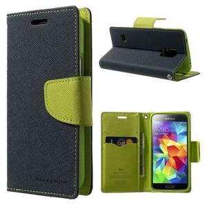 Diary PU kožené pouzdro na Samsung Galaxy S5 mini - tmavěmodré - 1