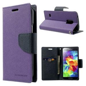 Diary PU kožené pouzdro na Samsung Galaxy S5 mini - fialové - 1