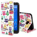 Koženkové pouzdro na mobil Sony Xperia E4 - sovičky - 1/6