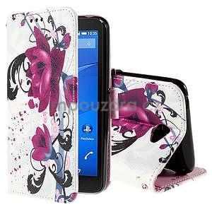 Koženkové pouzdro na mobil Sony Xperia E4 - květy - 1