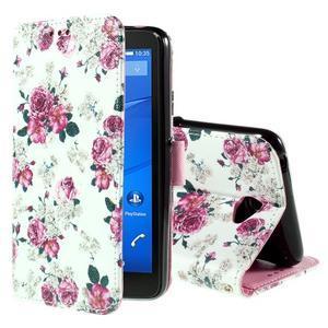 Koženkové pouzdro na mobil Sony Xperia E4 - růže - 1