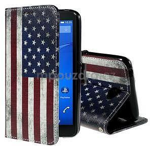 Koženkové pouzdro na mobil Sony Xperia E4 - US vlajka - 1