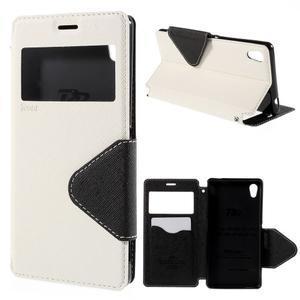 Peněženkové pouzdro s okýnkem pro Sony Xperia M4 Aqua - bílé - 1
