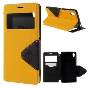 Peněženkové pouzdro s okýnkem pro Sony Xperia M4 Aqua - žluté - 1