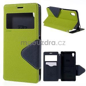 Peněženkové pouzdro s okýnkem pro Sony Xperia M4 Aqua - zelené - 1