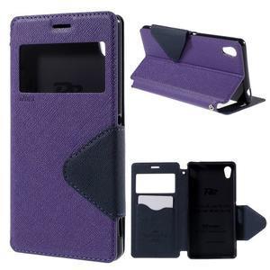 Peněženkové pouzdro s okýnkem pro Sony Xperia M4 Aqua - fialové - 1