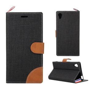 Jeans peněženkové pouzdro na mobil Sony Xperia M4 Aqua - černé - 1