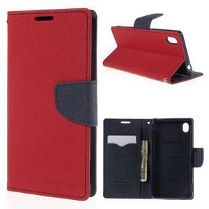 Ochranné pouzdro na Sony Xperia M4 Aqua - červené/tmavěmodré - 1
